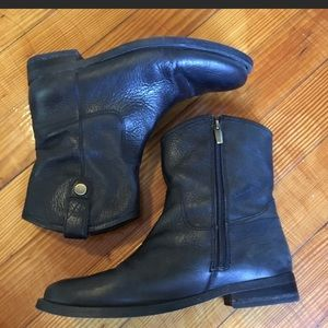 Vince Camuto Black Genuine Leather Moto Boots